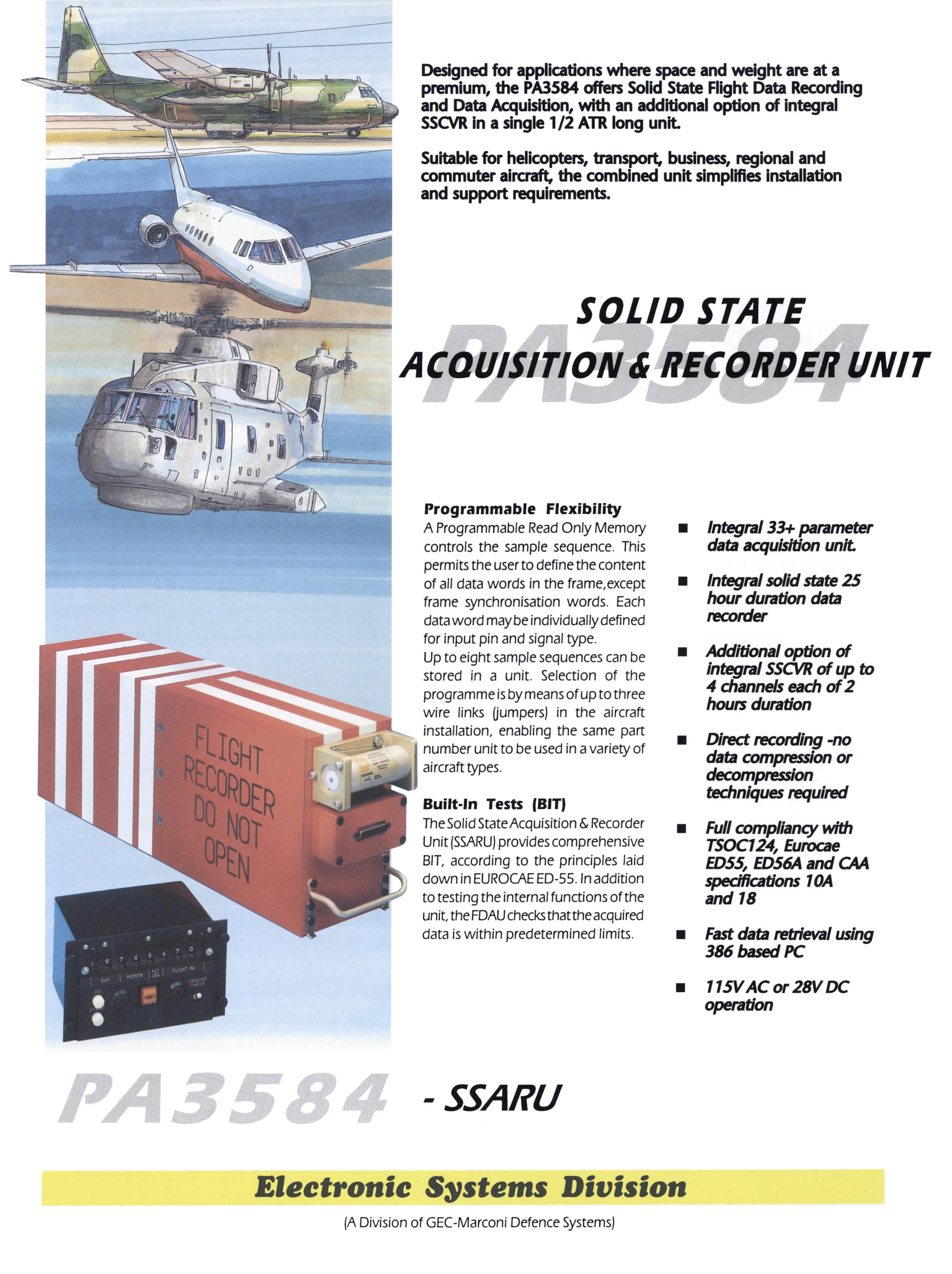 Solid State Acquisition & Recorder Unit PA3584 (crash recorder)