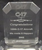 Award for the 100th C-17 Aircraft