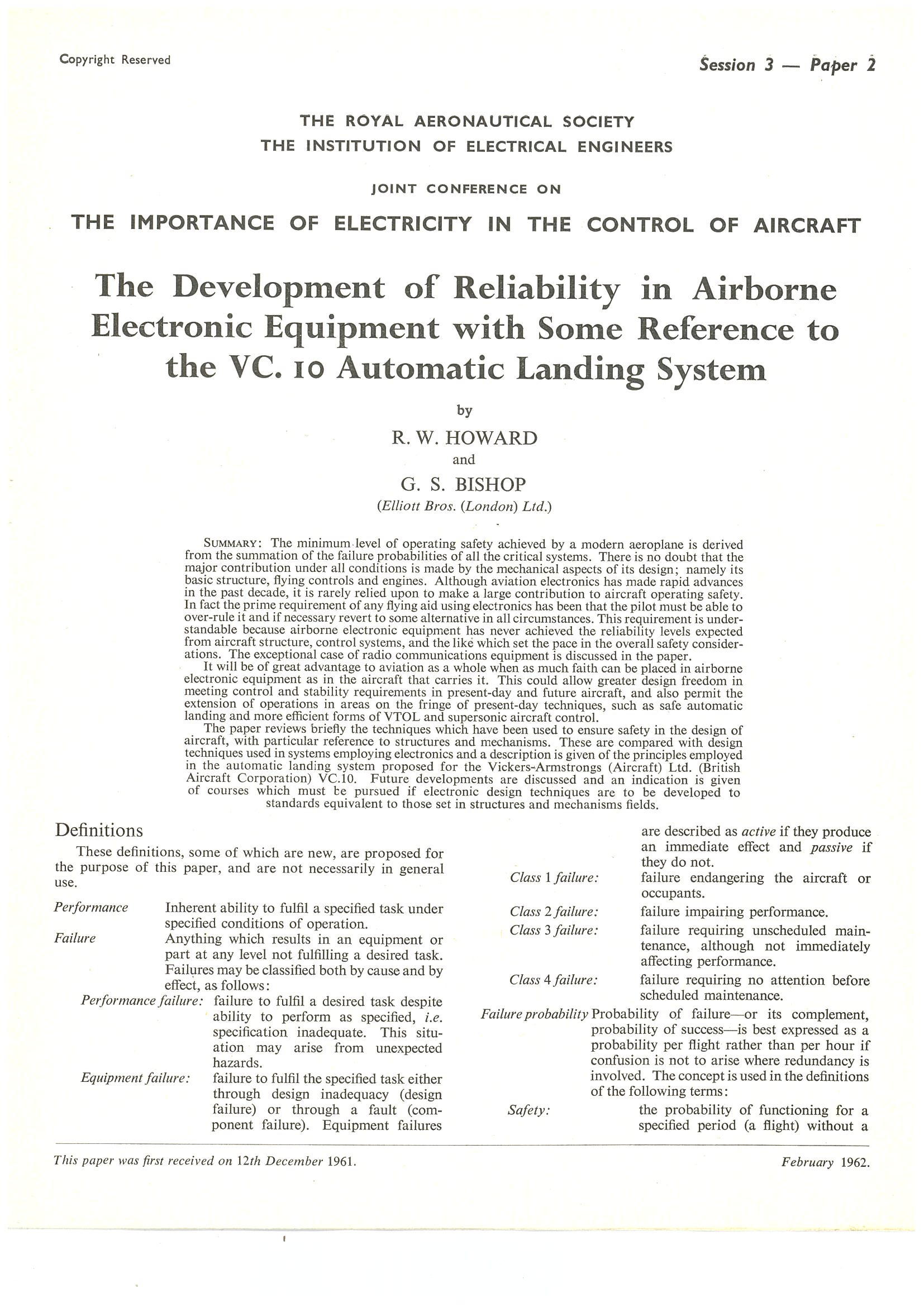 The Development of Reliability in Airborne Electronic Equipment with Reference to VC10 Automatic Landing System
