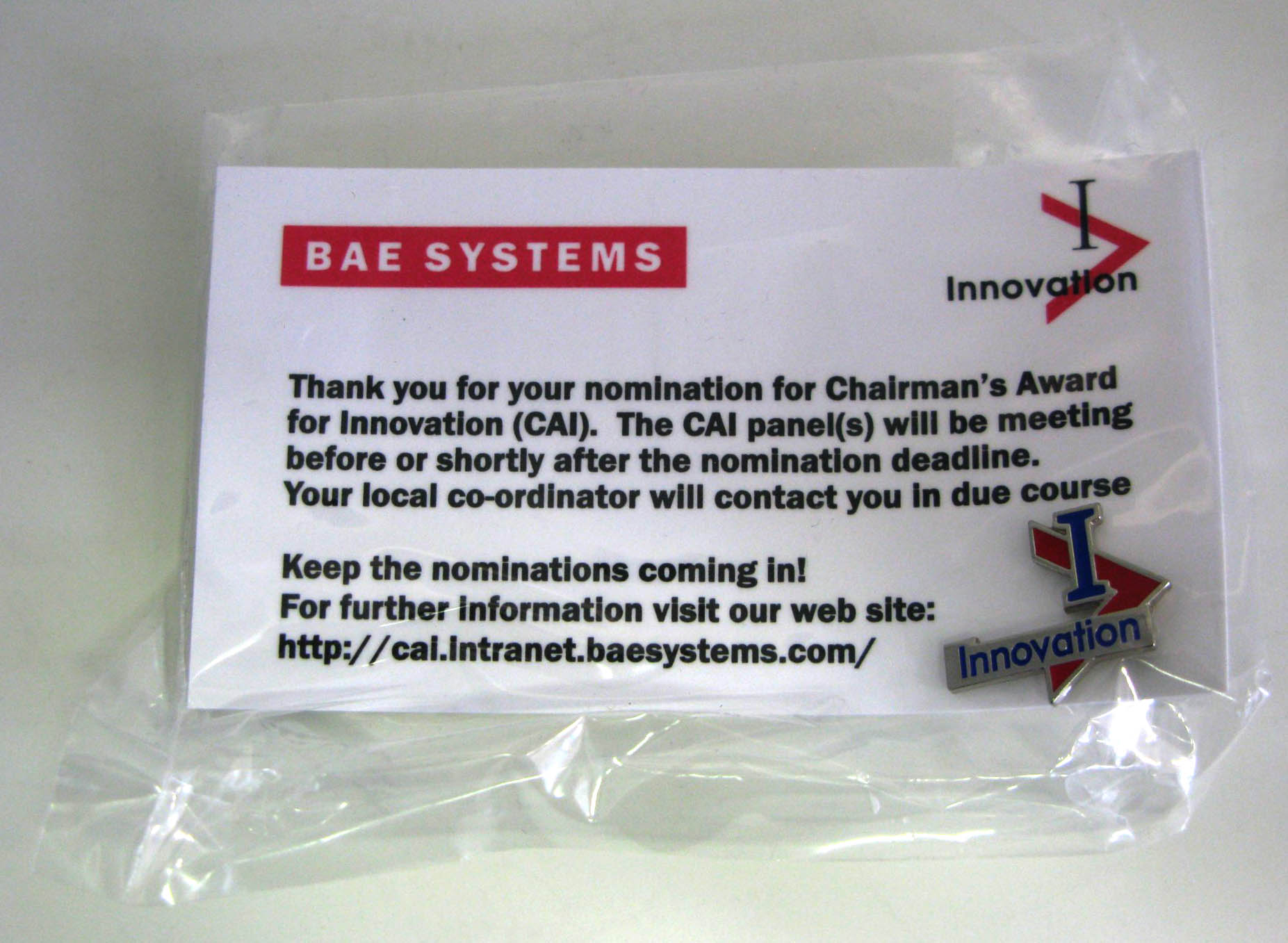 Chairman's Award for Innovation Lapel Badge