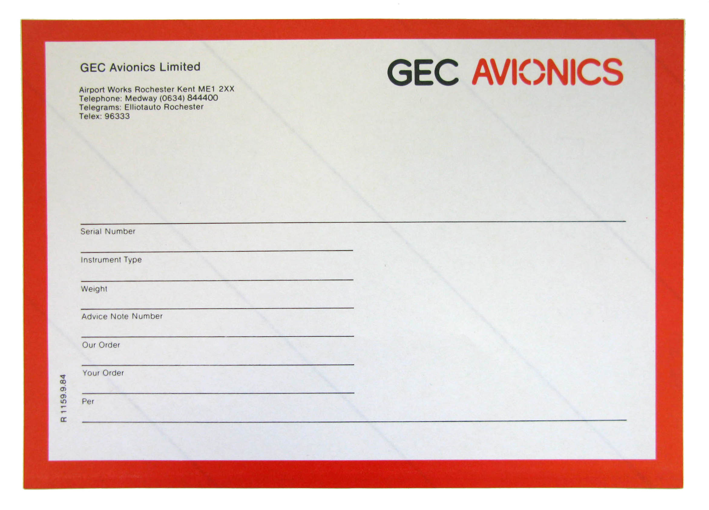 GEC Avionics shipping labels