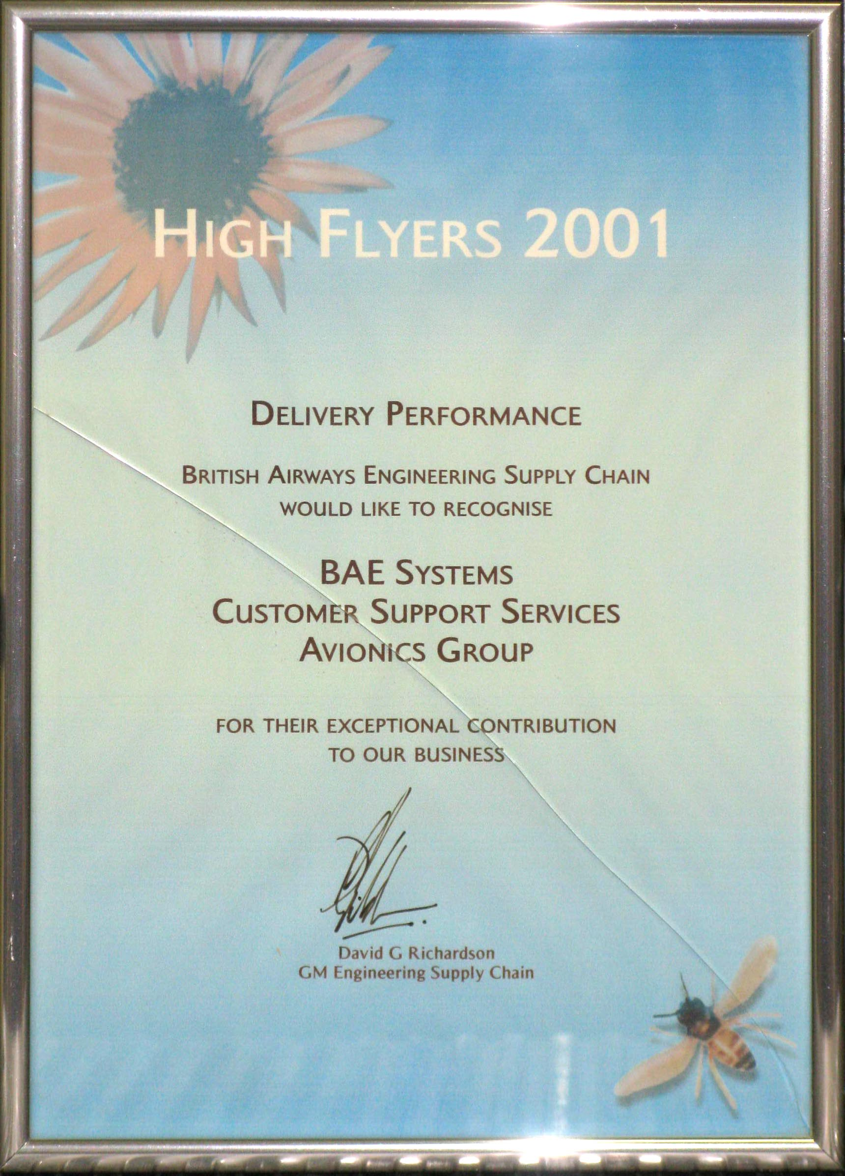 British Airways Delivery Performance Certificate