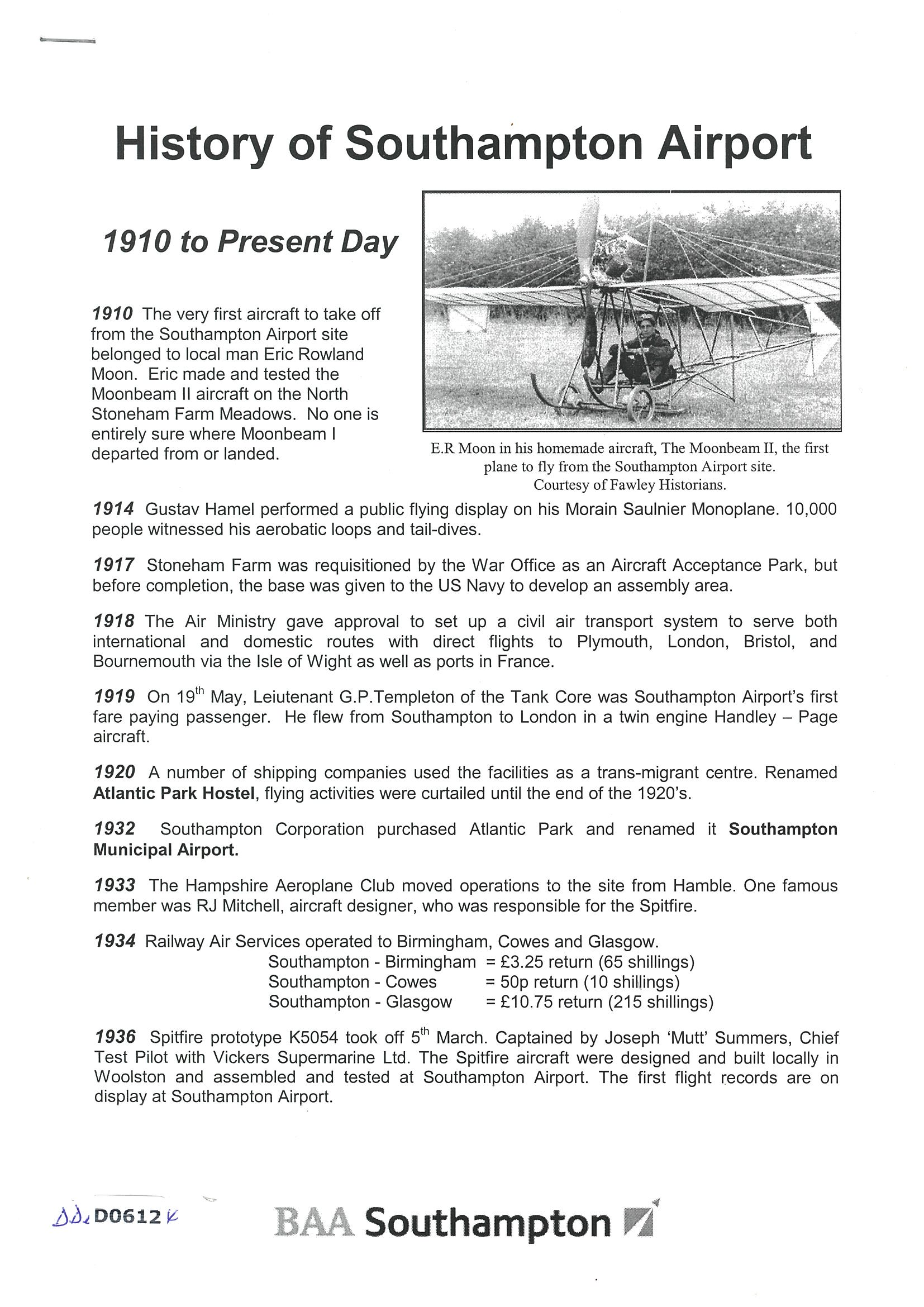 History of Southampton Airport