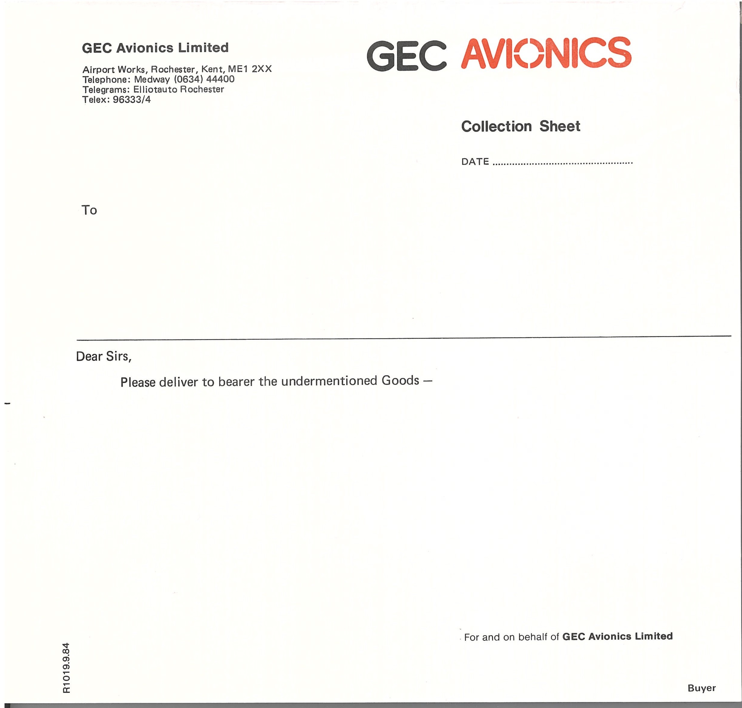 GEC Avionics Collection Sheet