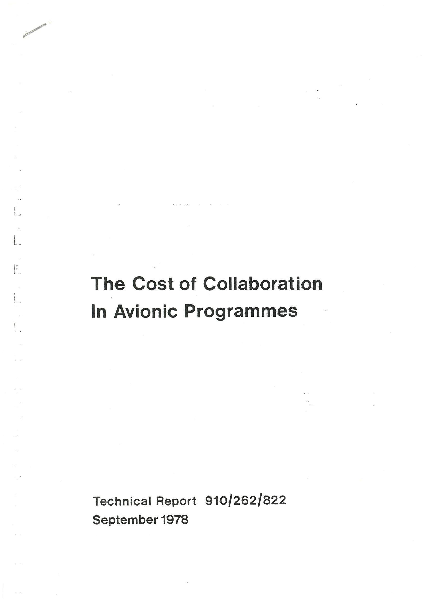 The Cost of Collaboration in Avionic programmmes.