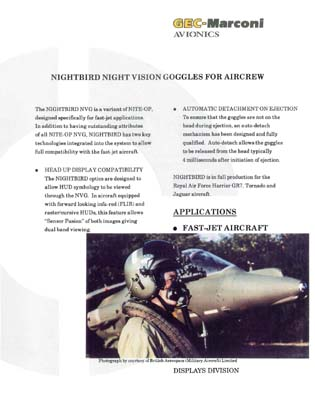 Nightbird Night Vision Goggles for Aircrew